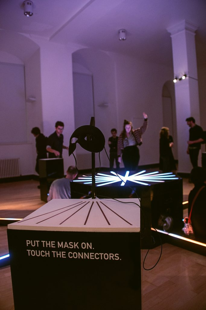 The Joker: a Cave of Sounds instrument playable only by wearing a mask. Shown at Music Hackspace, Somerset House Studios, Jan 2018. Photo: Suzi Corker