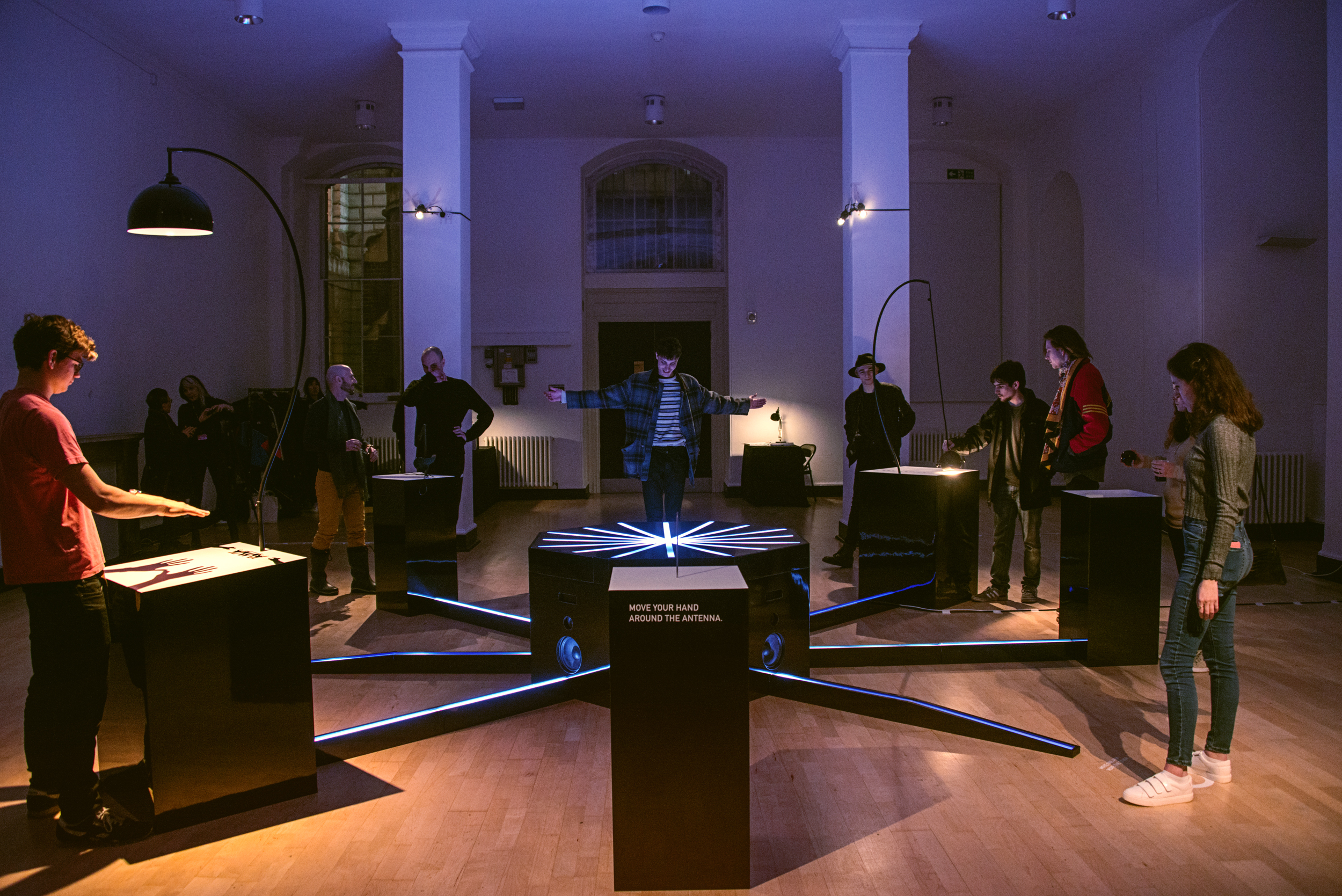 Participants collaborate to create music through bespoke instruments that use light, movement and touch, at the preview of Cave of Sounds at Music Hackspace, Somerset House Studios, Jan 2018. Photo: Suzi Corker