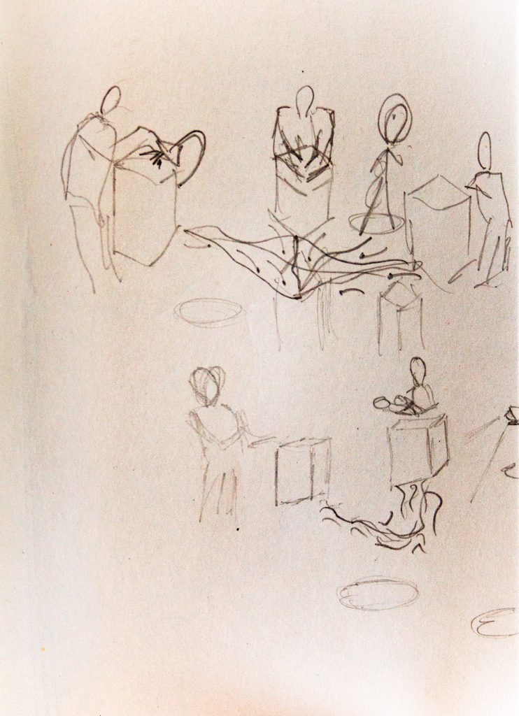 Early sketch by Tim Murray-Browne of the imagined Cave of Sounds installation of a musical ensemble performed by its audience