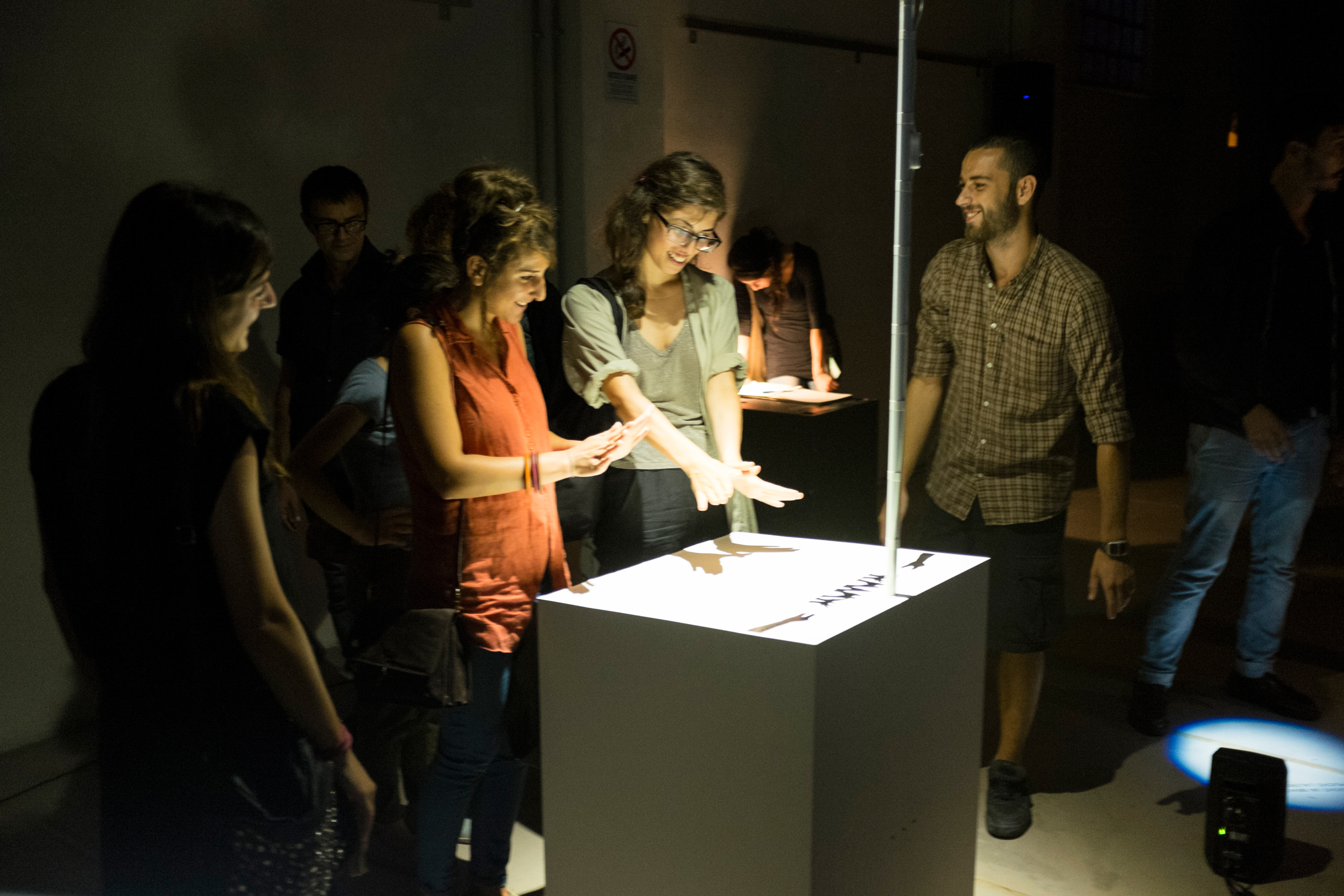 The Cave of Sounds by Tim Murray-Browne and members of Music Hackspace. Audiences playing with the prototype installation of digital musical instruments using shadows at 90dB Festival of the Sonic Arts Award, Rome